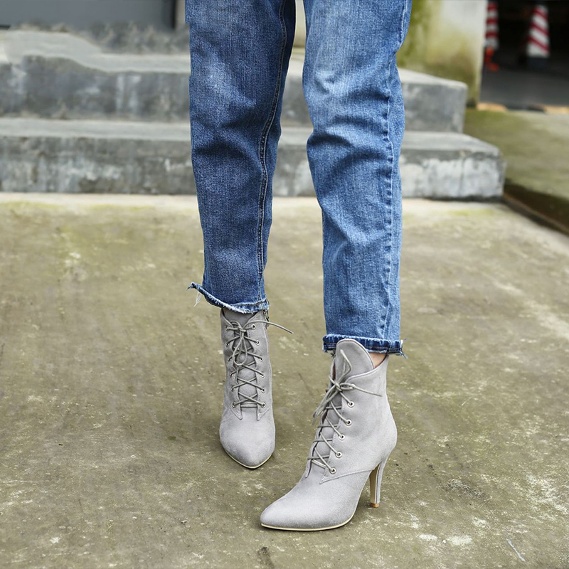 Bottes D'hiver Dames leopard Dentelle Chaussures Femme 041 Femmes Pointu H gris Léopard Bout Up Mode Noir Haute Pompes Casual Cheville Talons De m8PyvwONn0