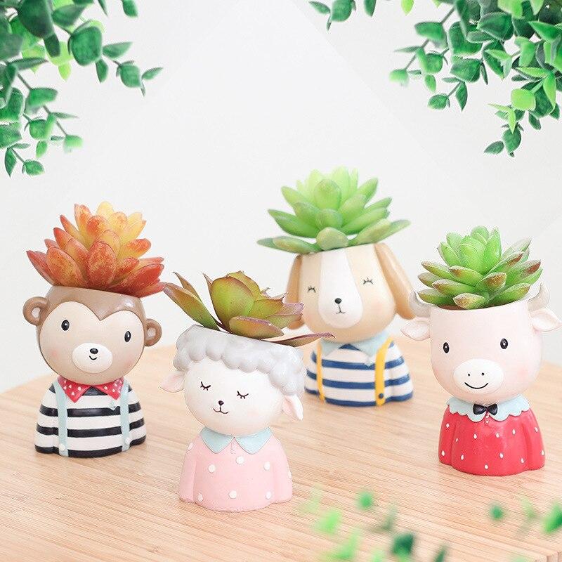 Farm Animals Planter Set - 4pcs Animal Succulent Plants Planter Pot Mini Bonsai Cactus Flower Pot Home Decor Monkey Puppy Craft