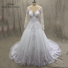 High Quality Wedding Dress Long Sleeves Button Back Bridal Gown Dresses For Bride Custom Made To Order Superbweddingdress