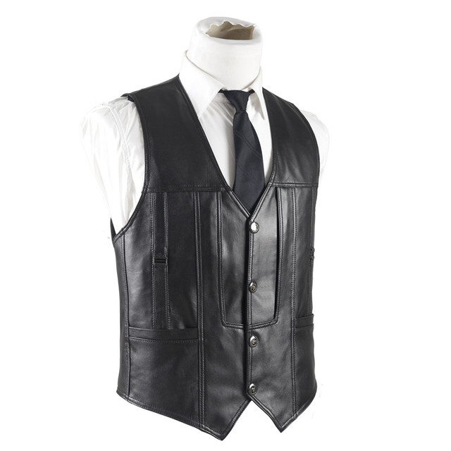 Genuine Leather Vest Men High End Winter Autumn Black Sheepskin Waistcoat Sleeveless Jacket Real Leather Classic Vest Clothing