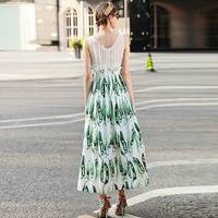 XF Summer 2018Runway High-Quality Fashion Designer Retro Maxi Dress Women'S Pea Printed Street Fashion Vintage Dress