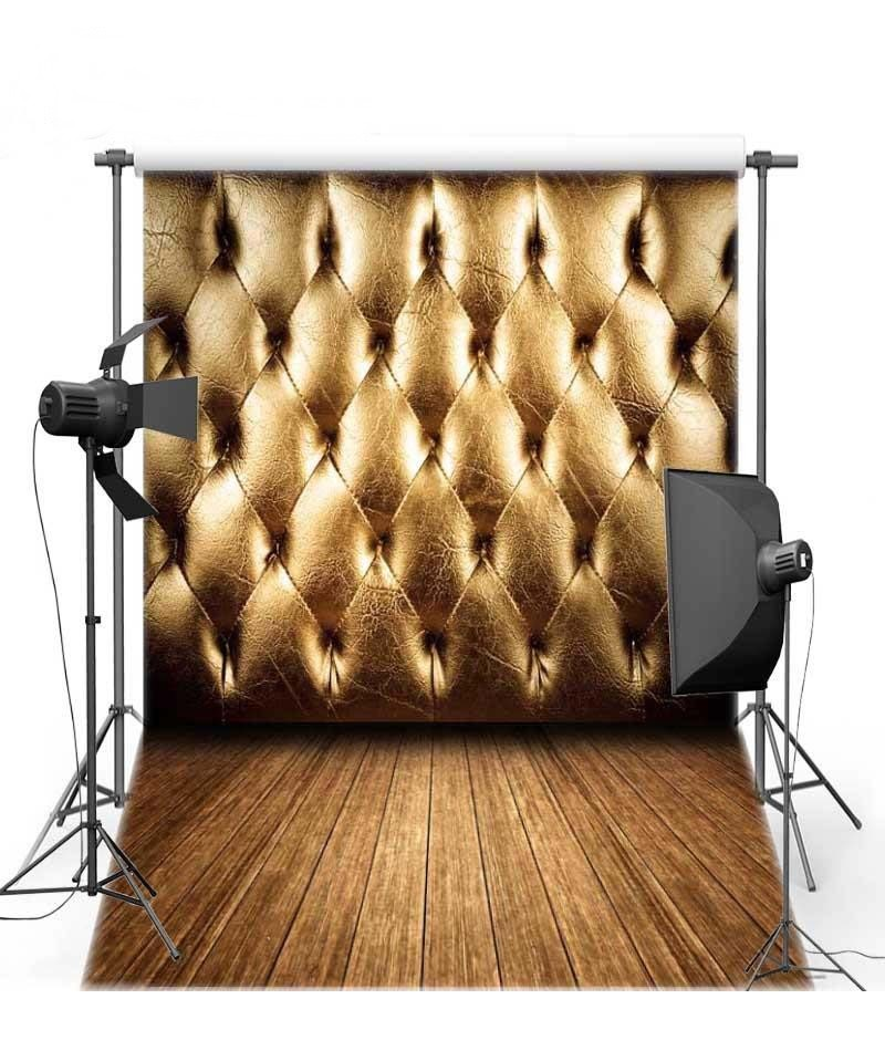 Gold Bed Headboard Wood Floor Backgrounds Vinyl cloth High quality Computer printed wall  photo backdrop