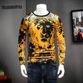 Fashion 3D T Shirt Sleeve Long Printed Lion Golden Pattern Men Clothes Luxury O Neck Thick Winter T Shirts Men Plus Size M-4XL