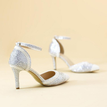 Sexy Silver Rhinestone Pointed Toe Bride Shoes Ankle Straps Gorgeous Wedding Evening Party Pumps Fashion Handmade Middle Heels