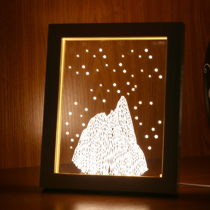 FL-725 3D Photo Frame LED Night Light Wooden Snow Mountain Decorative Christmas Gifts USB Lamp for In-Outdoor Decoration Lights