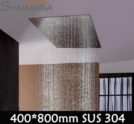 купить Hot Sale Free Shipping Bathroom Sus 304 Nickel Brushed 400*800mm Rainfall Shower Head with Stainless Steel Rain 26016fl недорого