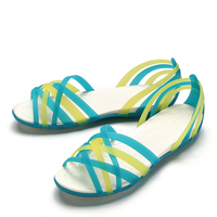 2019 Summer New Style Flat Hole Shoes Female Beach Jelly Sandals Students Simple Rainbow Plastic Sandals Female Summer 7J06