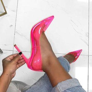 Image 2 - DiJiGirls zapatos mujer Casual 2020 Amarillo Neón sandalias Rojas PVC desnudo tacones delgados puntiagudos Pvc zapatos de moda Jeelly