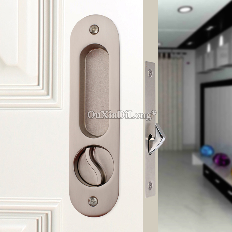 Stunning Design European Recessed Hidden Sliding Door Lock Brass Mortise Hook Lock Set with Key Brushed/Bronze