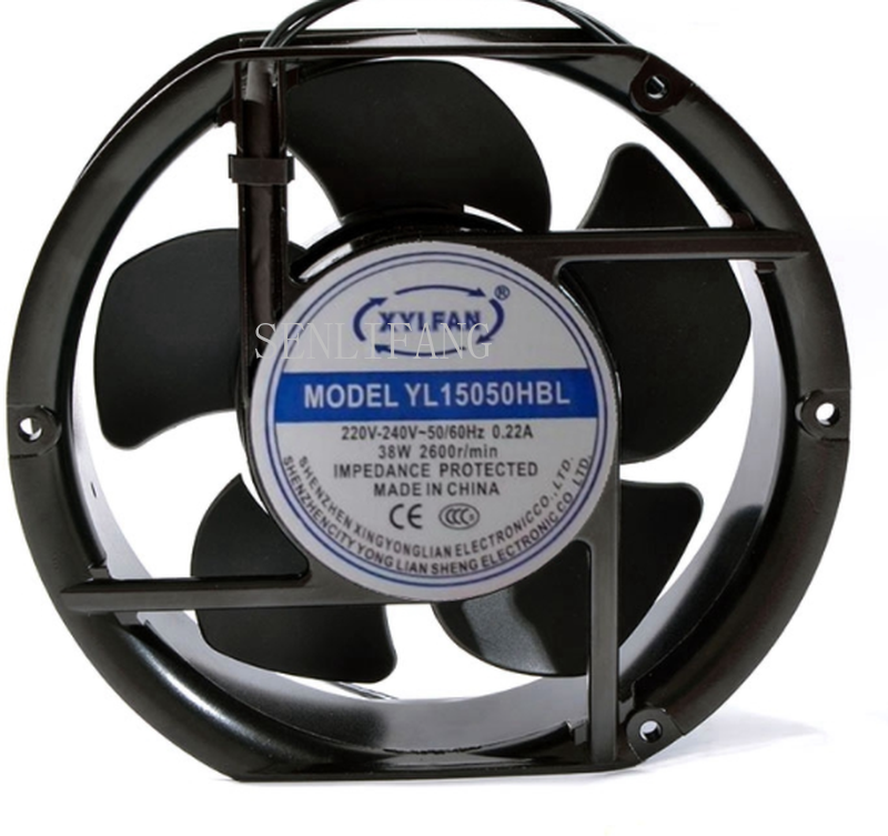 Free Shipping YL15050HBL AC 220V-240V 0.22A 55W 2600RPM 50/60HZ 2 Wires 17251 17cm 172*150*51mm Cabinet Cooling Fan
