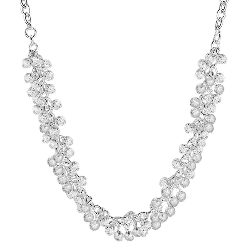 Pure Silver 925 Necklaces for Women Multi Beads Chain Necklace & Pendants Collier Wedding Bridal Jewelry Accessories Wholesale