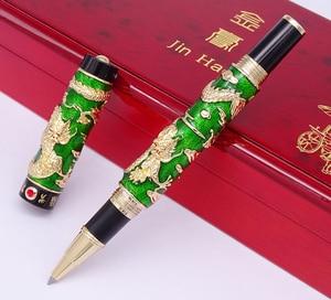 Image 4 - Luxury  Handmade Jinhao Roller Ball Pen, Green Cloisonne Double Dragon Pen Advanced Craft Writing Gift Pen for Business Graduate