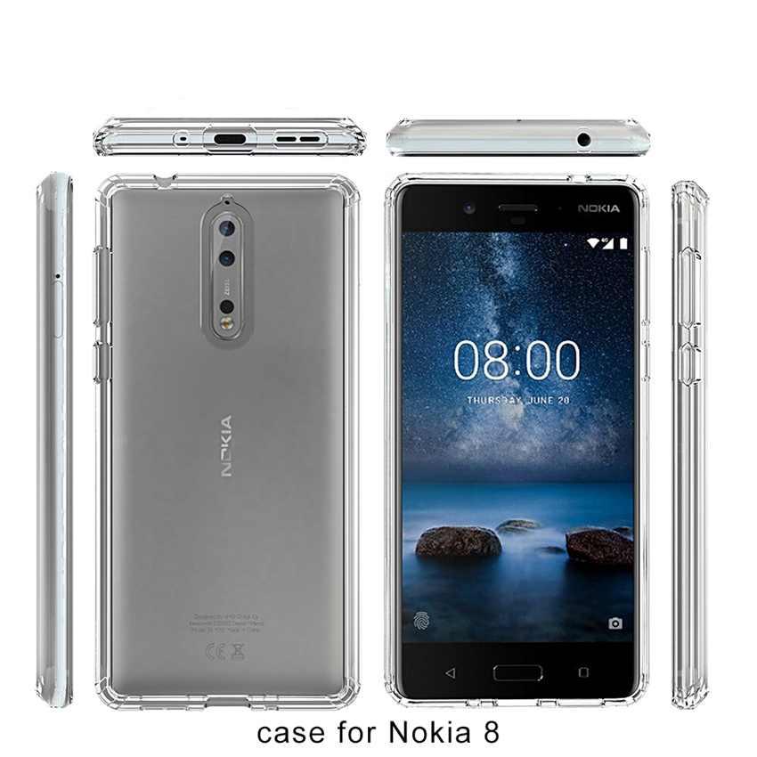 スーパー保護 Fundas Coque Transparetn エアクッションケースノキア 8 Nokia8 クリスタルクリア裏表紙耐震電話シェル