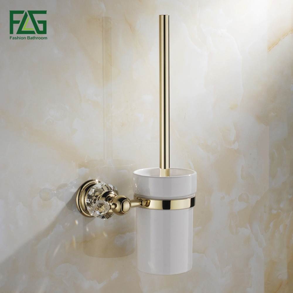 FLG Free Shipping Crystal Golden Brass Bathroom Accessories Toilet Brush Holders With Cup Set Wall Mounted Sanitary Wares 87503 flg free shipping crystal