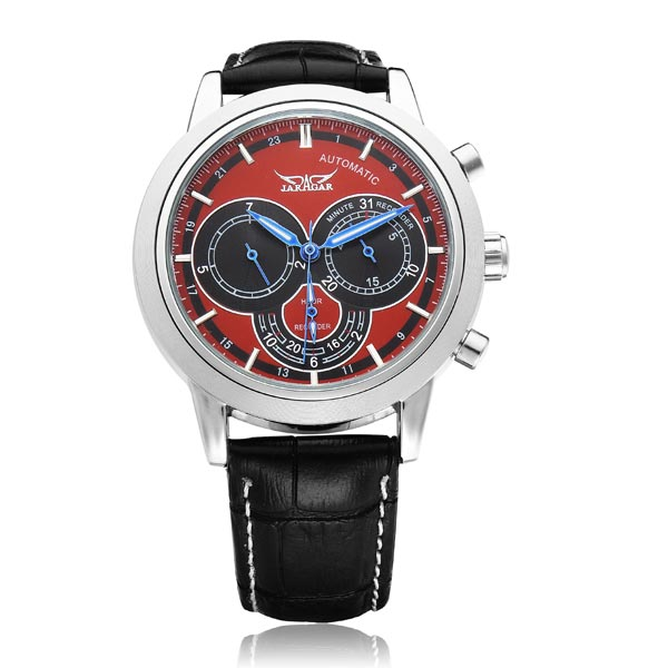 JARAGAR Brand Luxury Automatic Mechanical Fashion Red 3 Dial PU Leather Men Wrist Watch Men's Watches 2016 New ultra luxury 2 3 5 modes german motor watch winder white color wooden black pu leater inside automatic watch winder