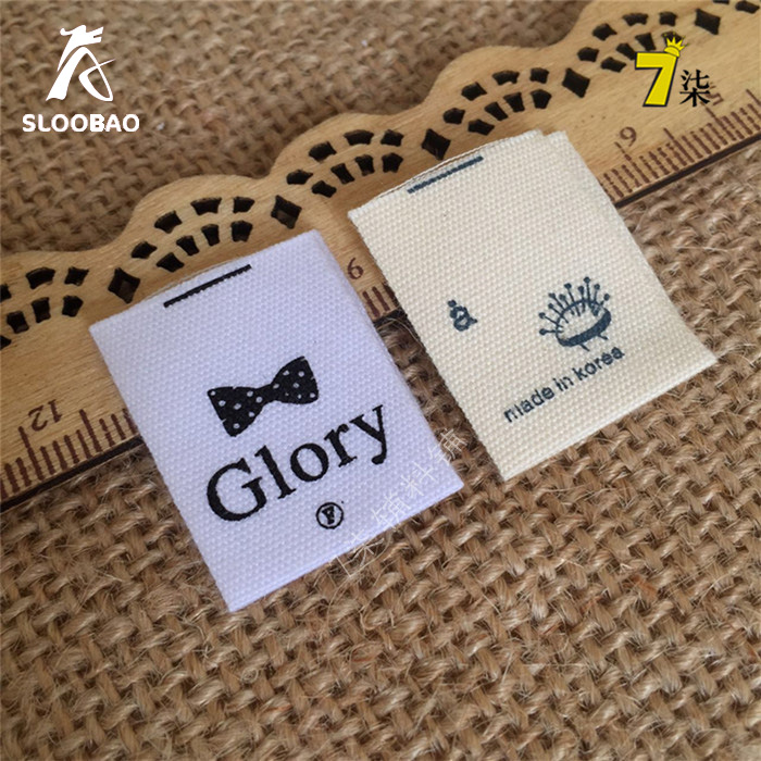 Free shipping custom clothing cotton labels printing garment printed tags main label cotton collar labels brand