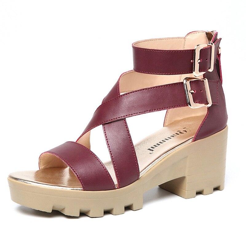 feffa9b88df0 Strap Women Wedges Ladies Toe Cross Front wine Red strap Solid tied Rear  Summer Sandals Cross Shoes Beige black Platform Peep Leisure High 0nqawxpp