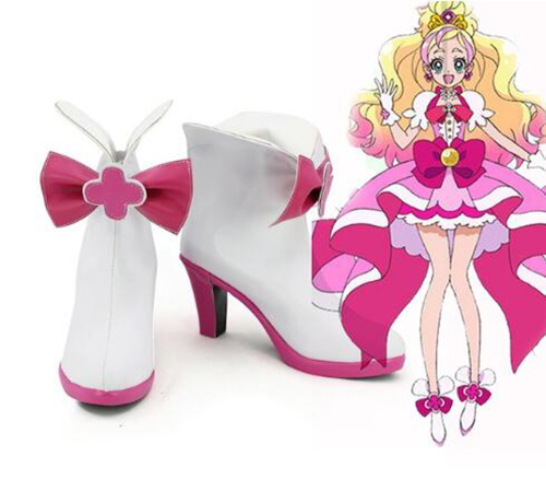Go! Princess Pretty Cure Cure Flora Cosplay Boots Shoes Pink Halloween Party Custom Made for Adult Women Shoes Accessories