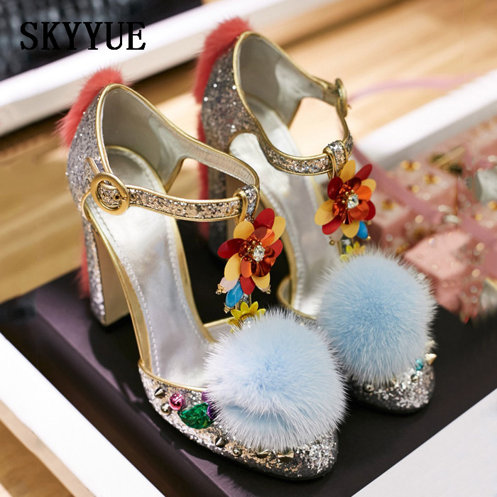 2018 New Genuine Leather Blilng Bling Pom Pom Studded T-Strap Women Pumps Round Toe Women Block Heel Pumps Shoes Women flower decorated kids headband with pom pom