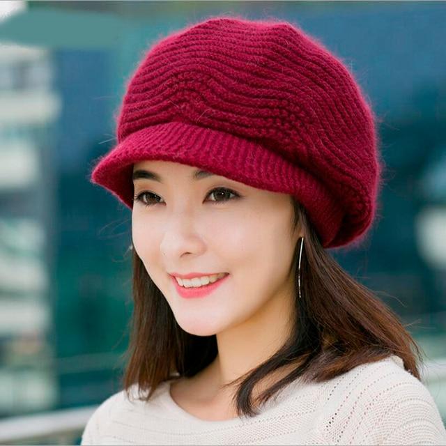 Winter Beret Women Warm Knitted Thicken Rabbit Fur Wool Beret Hat Ladies Beanie  Hat Visor Newsboy Hat cap for Women e61f51e9cf5