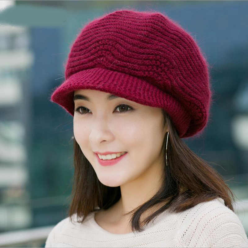 98bfa819e2c Winter Beret Women Warm Knitted Thicken Rabbit Fur Wool Beret Hat Ladies Beanie  Hat Visor Newsboy