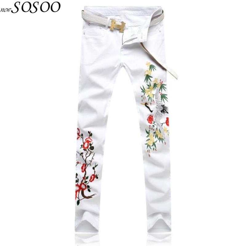 man jeans embroidery bird and flower pattern slim fit jeans pants white mens brand jeans Korean style fashion #103 ...