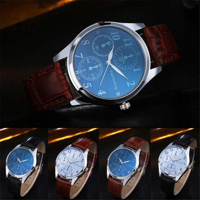 3d5d65a922ce Hombres de moda hombres cuero reloj de acero inoxidable Militar deporte  cuarzo reloj popular caliente al por mayor del envío del DORP