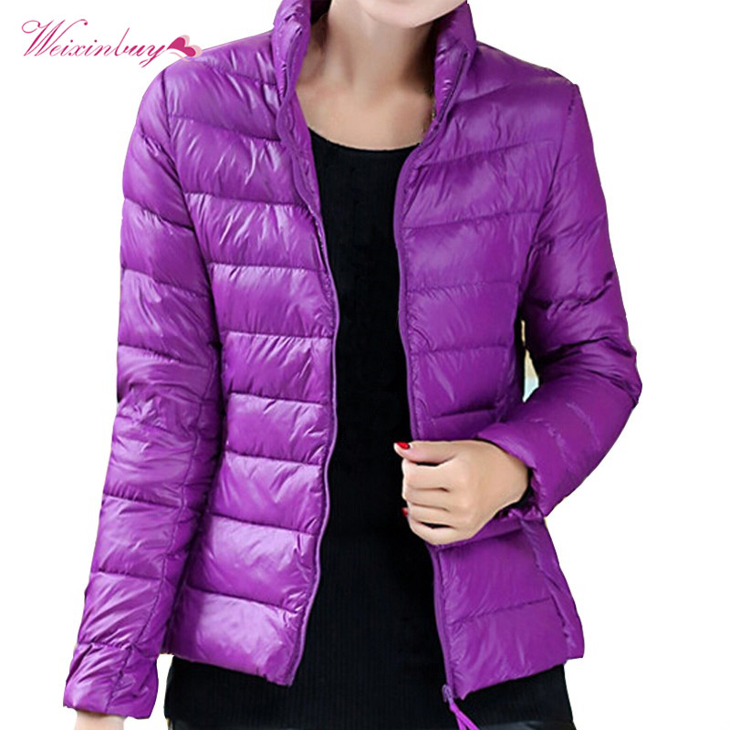 plaid down jacket with pockets Winter Women Ultra Light Down Jacket Duck Down Jackets Female Slim Thin Parka Zipper Coats with Pockets