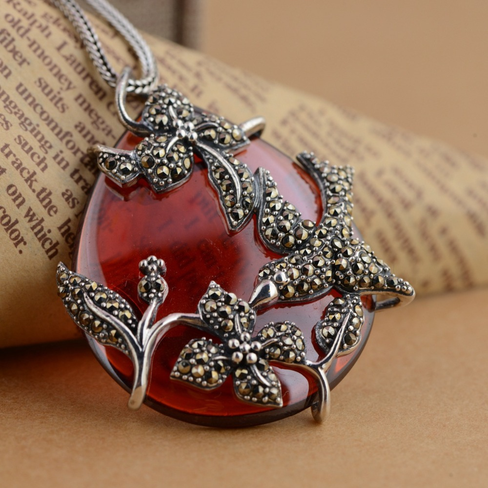 S925 sterling silver fashion new pendant, antique craft inlaid natural stone pendant s925 sterling silver inlaid natural stone thai silver beautiful burning blue brooch female pendant new products