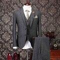 Высокое качество человека шерстяные костюмы мужской 3 шт. костюм с жилет и брюки свадебное платье мужчины серый старинные костюмы Большой размер S-5XL