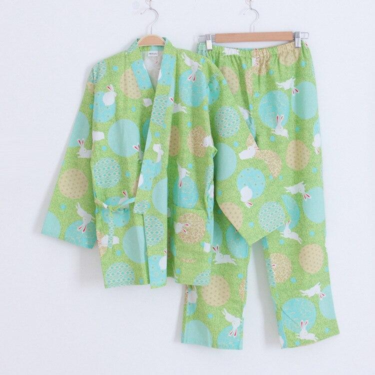 Neue Einfache Japanese Kimono Roben Frauen Frühjahr Langärmelige 100% Baumwolle Bademantel Mode Casual Weißen Kaninchen Morgenmantel