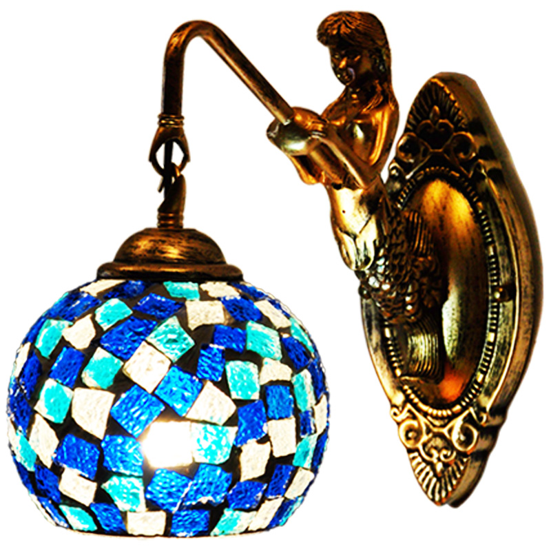 Свет Европейский Русалка Настенные светильники Средиземноморский ретро прикроватная лампы зеркало спереди проход Лестницы балкон настен...