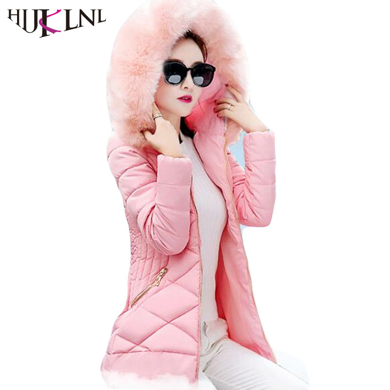 HIJKLNL Women Winter Jacket and Coat 2017 New Cotton Padded Hooded Fur Collar Long Parka Mujer High Quality Overcoat JX008 hijklnl women casual letter printed hooded long jacket 2017 winter thick coats female loose overcoat cotton parka mujer na340