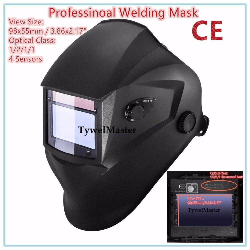Máscara soldadora casco profesional 98x55mm 4 sensores 1211 clase óptica filtro tamaño Solar Auto oscurecimiento CE UL CSA aprobación