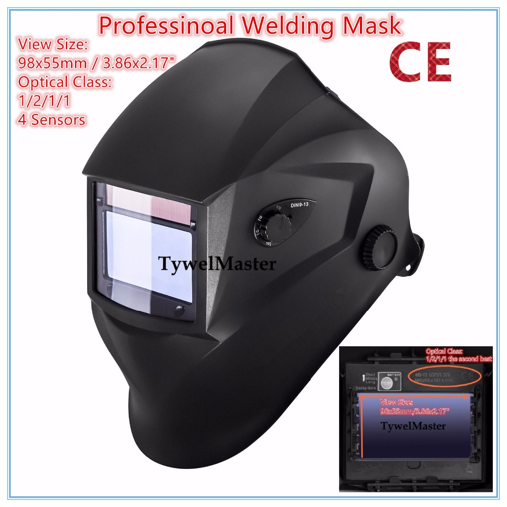 Professional Welding Helmet Welder Mask 98x55mm 4 Sensors 1211 Optical Class Filter Size Solar Auto Darkening CE UL CSA Approval solar auto darkening welding mask helmet welder cap welding lens eye mask filter lens for welding machine and plasma cuting tool