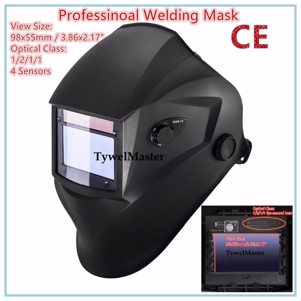 Professional Welding Helmet Welder Mask 98x55mm 4 Sensors 1211 Optical Class Filter Size Solar Auto Darkening CE UL CSA Approval