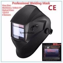 Профессиональный сварочный шлем-маска сварщика 98×55 мм 4 Датчики 1211 оптический класс фильтр Размеры Солнечная Авто Затемнение ce ul, csa