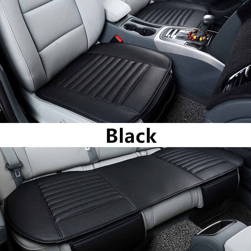 GSPSCN 1Pc PU Leather Car Seat Cover Striped Bamboo Charcoal Car Seats Cushion Cover For Healthy For Four Seasons cys8893 cute pekingese style car adornment bamboo charcoal bag beige brown