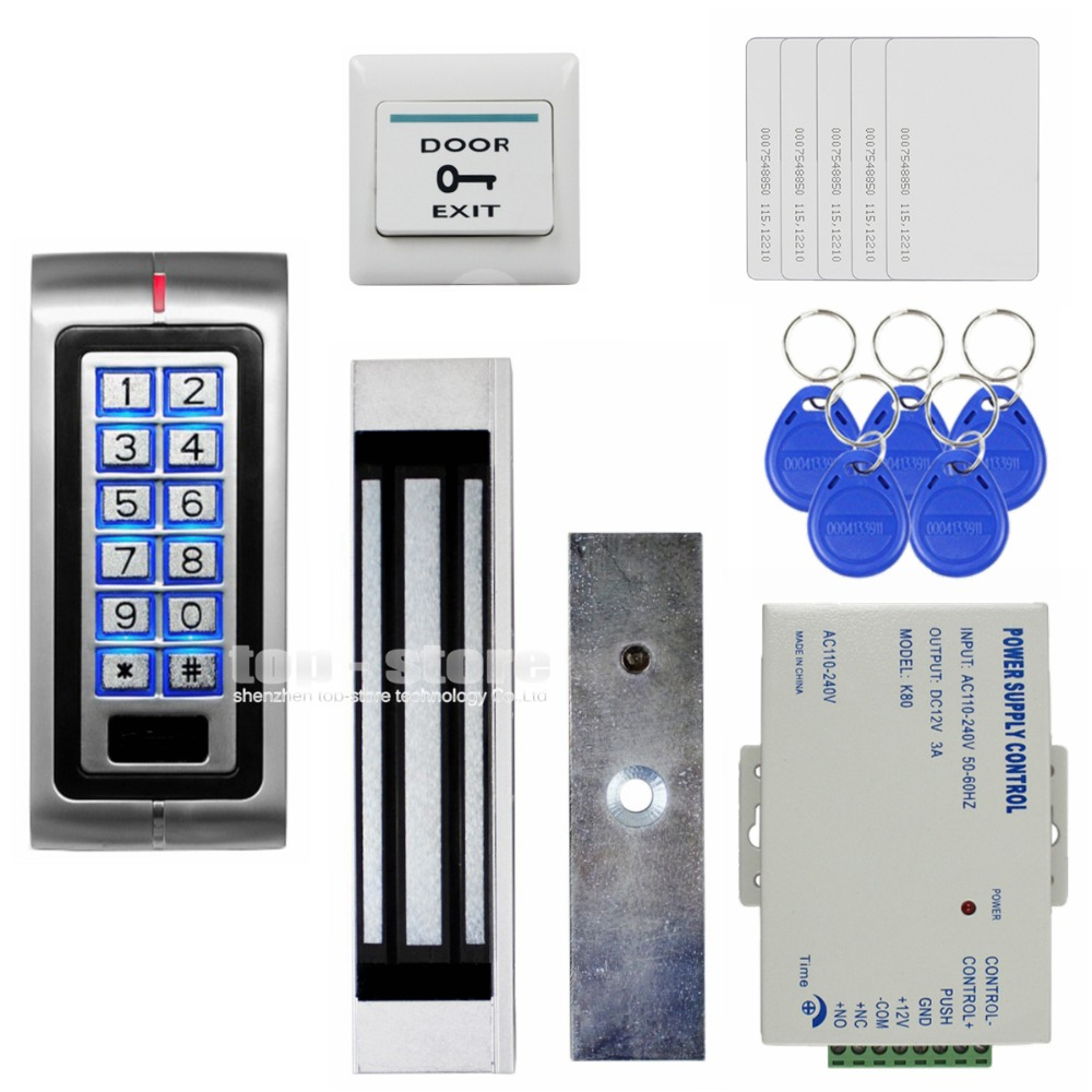 DIYSECUR 180kg 350lb Magnetic Lock 125KHz RFID Password Keypad Access Control System Security Kit + Exit Button K2 diysecur touch button rfid 125khz metal keypad door access control security system kit magnetic lock for home office use