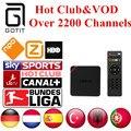 Caja androide de la TV IPTV T95N Alemán 2200 + Canales de Holanda Turco España Portaguese Albanés Club y VOD IPTV Adulto Caliente 1 GB/8 GB