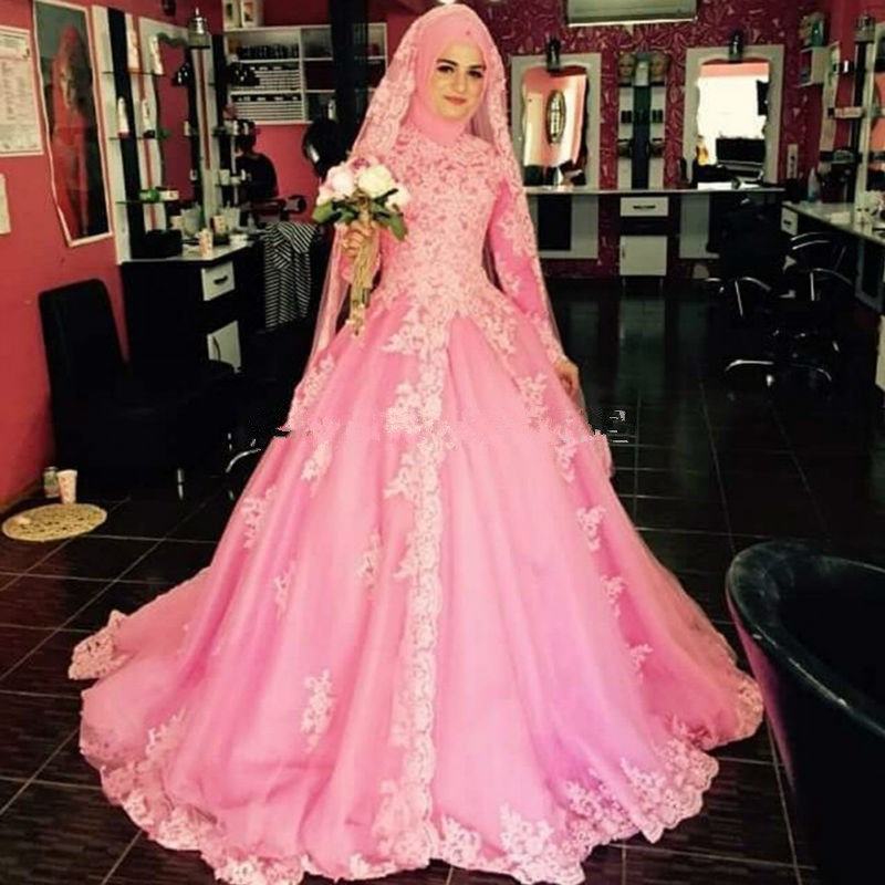 Hot Pink Arab Muslim Wedding Dresses With font b Hijab b font Lace Long Sleeve Bridal