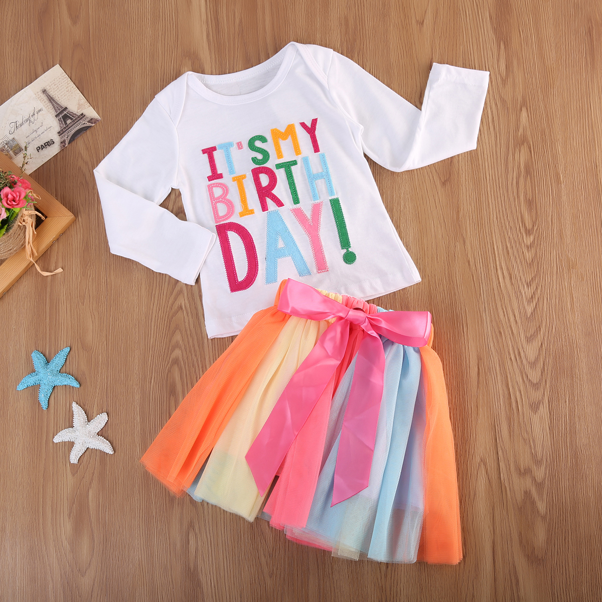 3823fb70e Newborn Kids Baby Girl Toddler Xmas Long Sleeve Top T-shirt+Rainbow tutu Skirt  Dress Outfit Birthday Party Clothes Suit