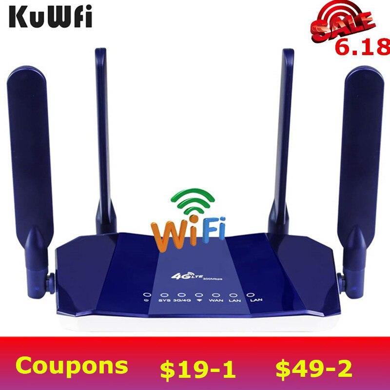 Routeur CPE KuWfi 4G LTE routeurs CPE sans fil 300 Mbps CAT6 débloqué routeur Wifi 4G LTE FDD RJ45Ports et emplacement pour carte Sim jusqu'à 32 utilisateurs