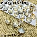 Rivoli Cristal Fancy Stone Point Volver Cristal de Color Champán de oro piedra Para La Joyería Que Hace 6mm 8mm 10mm 12mm 14mm 16mm 18mm