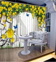 European style curtains Customize curtains home decor Butterfly flower bedroom livingroom photo curtains 3d