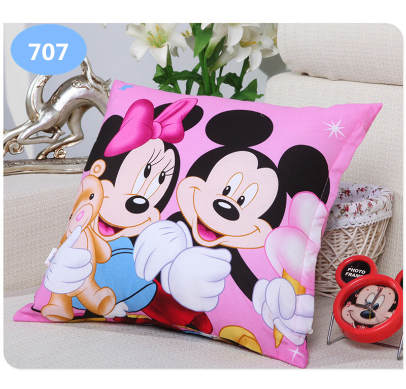 Baby Bedding Mother & Kids Disney Cartoon Printing Pillow Frozen Princess Mickey Mouse Donald Duck Snow White Printing Throw Pillow Bolster Square Cushion