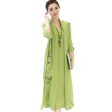 Мода хлопок лен длинное женское летнее платье кимоно офисная Туника халат винтажное платье с цветочным принтом размера плюс свободное миди платье