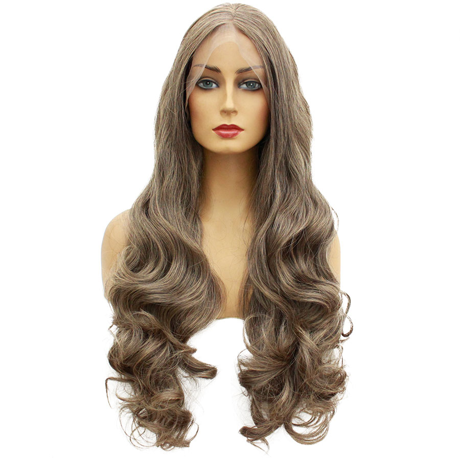 Wigs Eunice-Hair Lace-Front Synthetic Full-End Women Middle-Part Heat-Resistant Glueless