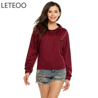 LETEOO Floral Embroidery Sweatshirts Women Tracksuit Sudadera Mujer Autumn Hoodie Casual Pullover Long Sleeve Hoodies Moletom