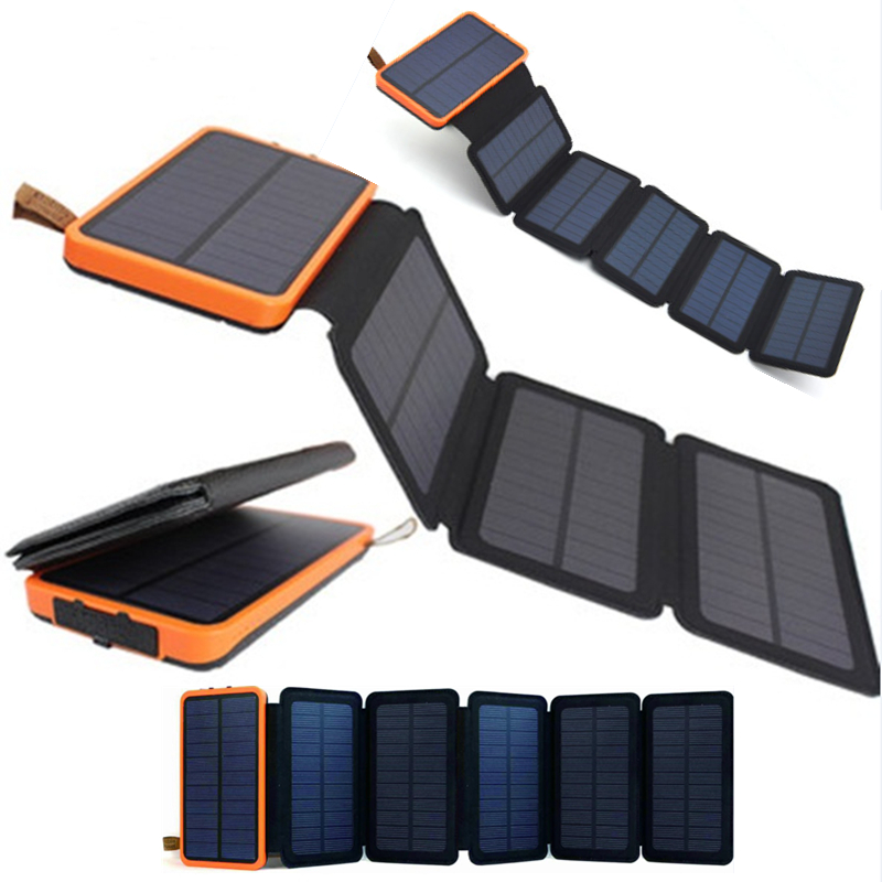 KERNUAP folding Solar panel 12W 10W sunpower battery 30000mah solar celles universal Phones power bank Charger Outdoors External universal ultra thin solar powered external power bank 4000mah 6000mah polymer battery dual usb charger supply for smart phones